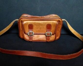 SALE Vintage Tan Brown Distressed Leather Purse Bag Satchel Messenger Crossbody Boho Bag