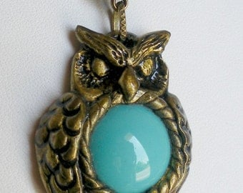 Owl Pendant, Polymer Clay and Turquoise Bead