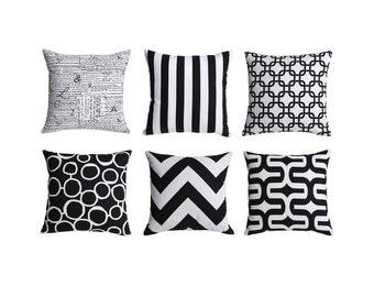 Black White Zippered Pillow Cover 20x20 Inches 12x21 22x22 26x26 B&W Stripe Pillow Black Decorative Pillow Throw Pillow Cushion Cover-2CW0