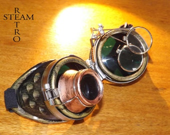 10% off sale17 bronze steampunk goggles - double loupe green lens cyber goggles burning man steampunk accessories - Christmas steampunk gift