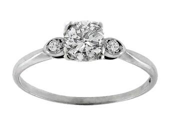 Estate 0.55ct Old Mine Cut Diamond 14k WhIte Gold Engagement Ring