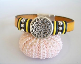 Yellow Leather Etched Focal Bracelet - Item R3193