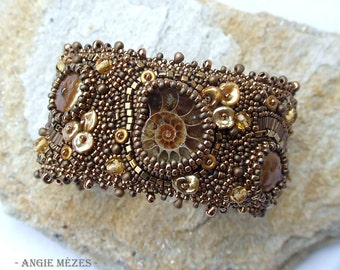 Fossil Beaded Bracelet, Freshwater Pearl Bracelet, Bead Embroidery Cuff Bracelet, Bronze Brown Cuff, Ammonite Cuff, Birthday Gift for Mother