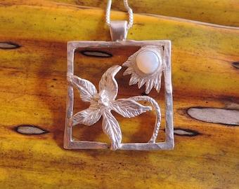 Moonflower Milky Opal  Pendant. OOAK. Silver 9.50