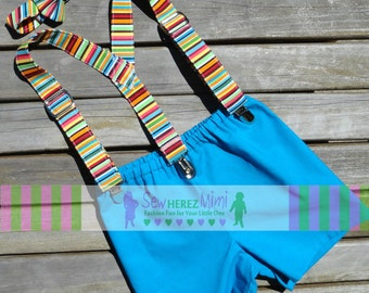 Cake Smash Turquoise Shorts, Striped Suspenders, BOW TIE 3 pc Set