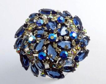 Juliana High Domed Blue and AB Rhinestone Large Rhodium Plated Brooch
