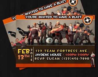 Printable TF2, Team Fortress 2, birthday invite, birthday invitation, game, fps