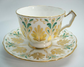 Aynsley Tea cup and saucer set,  Green and Gold tea cup, Aynsley embossed tea cup and saucer.