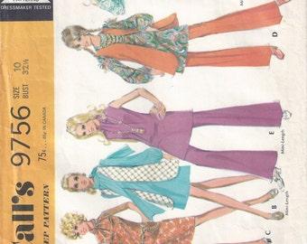 1969 McCalls 9756 Misses' and Junior Dress, Vest and Pants Pattern, Size 10