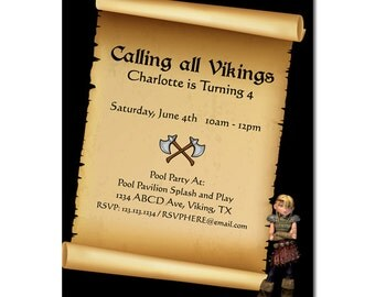How to Train a Dragon / Viking Invite - Digital File