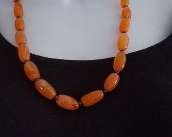 Orange Carnelian Stone Necklace from Peru