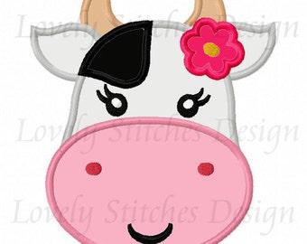 Girl Cow Face Applique Machine Embroidery Design NO:0508