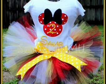 Minnie Mouse Birthday Number Shirt and Tutu Set- Red, Black, White and Yellow