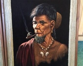 Vintage Velvet Paintings - Old Man and Woman - Polynesian, Hawaiian, Filipino