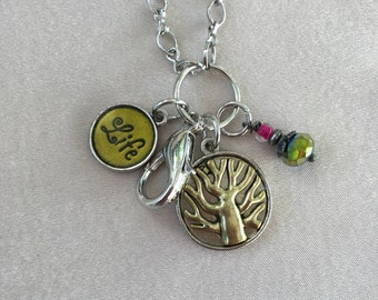 Mixed Metal I.D. Lanyard Tree of Life Charm Necklace