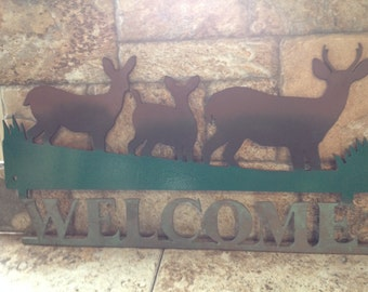 Deer Family Welcome Sign