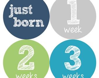 Newborn Baby Stickers, Baby Milestone Stickers, Baby Stickers - Blue, Green, Baby Boy, Grey, Baby Shower Gift - NEWBORN SET