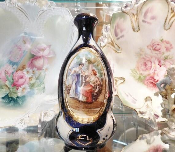 Majolica Bud Vase / Italian Majolica / Cobalt Stoneware / Earthenware / Antique Pottery Vase