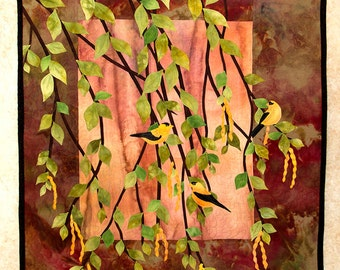 Hand painted fabric art quilt, wallhanging  - Goldfinches - fiber art