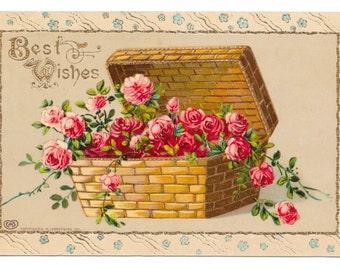 Basket of Roses Best Wishes Postcard, 1911