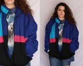 Wind Breaker 80s Color Block Multicolor Striped Purple Blue Pink Black 1980s Light Weight Zip Up Jacket Retro Hipster Extra Large XL
