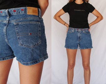 TOMMY HILFIGER 90s Medium Wash Denim Shorts Mid Rise High Waisted Embroidered Waistband 1990s Retro Hipster 28 Small S