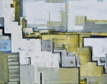 """FREE SCHIPPING! Abstract painting """"Layer city 50"""". 100% Oil painting on cotton canvas. Unique impasto texture. 100/70 cm"""