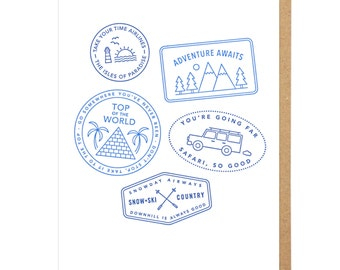 Passport Stamps Letterpress Card