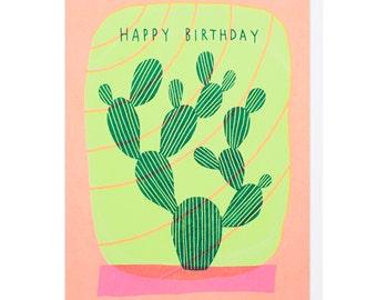 Happy Birthday Cactus Screen Print Card