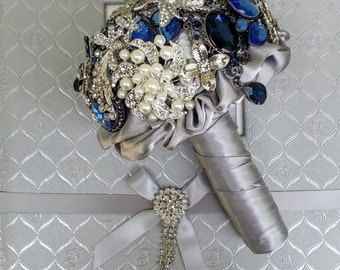 Deposit on made to order Great Gatsby Glamour Lovely romantic silver blue grey  handmade wedding brooch bouquet