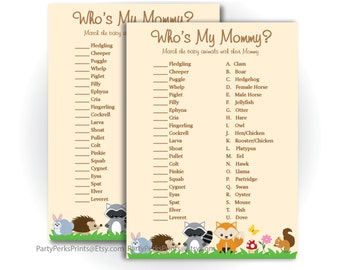 Baby Animals, Baby Shower Game, Who's My Mommy, Woodland Animal Forest Pals Theme, Fox, Hedgehog, Raccoon - Printable Download