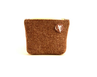 Harris Tweed Coin and Card Purse - Brown/Mouse Print