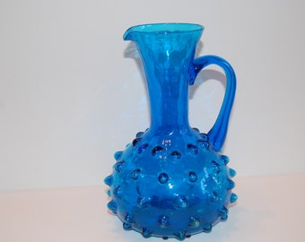 Vintage Hobnail Pitcher, Dark Blue Hobnail Pitcher, Flower Vase, Milk Pitcher