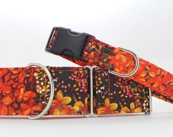 Autumn Fire Floral Pet Collar (Martingale, Buckle, or Tag)