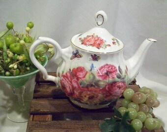 Grace Floral Teapot, Floral, Deep Pink Roses, Gold Trim, Grace Teaware