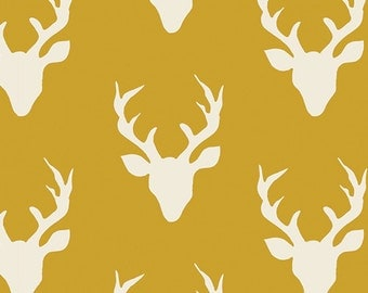 Knit Buck Forest Mustard - by Bonnie Christine for Art Gallery - knit fabric, modern knit, jersey knit, deer, boy fabric, mustard, woodland