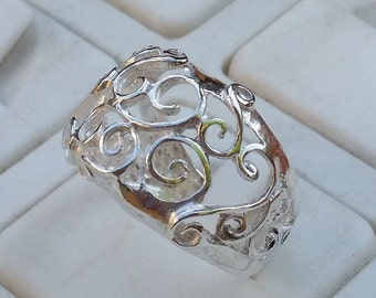Silver Ring Sterling Silver 925 Spirals Handmade Artisan Crafted Women Size 8 Free Shipping