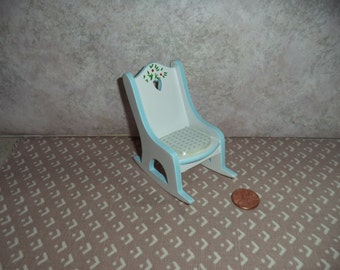 1:12 scale Dollhouse Miniature Blue and white rocker