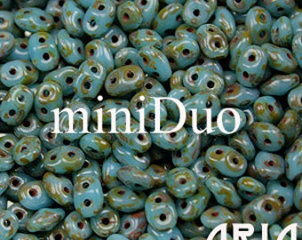 BLUE TURQUOISE Dark TRAVERTINE: MiniDuo Two-Hole Czech Glass Seed Beads, 2x4mm (5 grams)