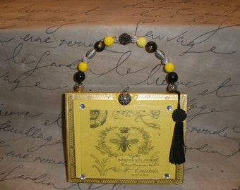 Yellow Queen Bee Montecristo Cigar Box Purse, Zebra Lined- Must See!