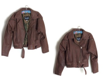 Vintage leather jacket // tan brown 80s leather jacket // womens leather jacket // 1980s retro leather coat // size 10 -12
