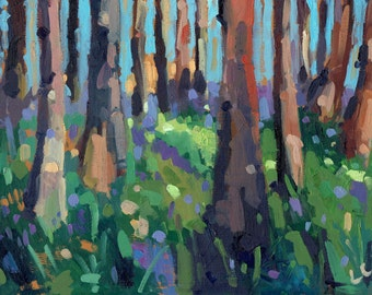 Bluebell Wood. 7'' x 5'' Art Greetings Card. Quality printed card, blank inside.