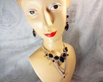 Purple Rhinestone Necklace Set