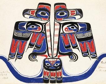"Johnny Kit Elswa (First Nations, Haida) : ""Koot. Sparrow Hawk on its Nest"" (1883) - Giclee Fine Art Print"