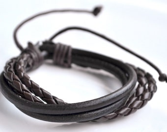 Brown leather cord bracelet