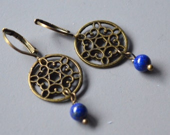 Earrings canvas bronze filigree