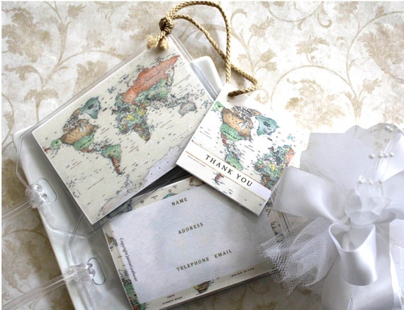 Wedding Gifts and Mementos 40 Wedding Favors World Map Luggage Tag 1 ...