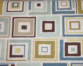 Benartex Dwellings...Beach House, Town House, Guest House Teal Brown Fabric BTY