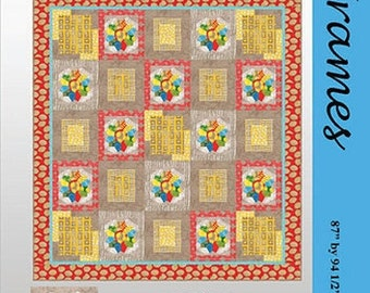 Frames Lavender Lime Malka Dubrowski Quilt Modern Pattern 87.5 x 95 Inches