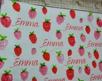 Personalized strawberry baby name swaddle blanket: baby and toddler personalized name newborn hospital gift baby shower gift